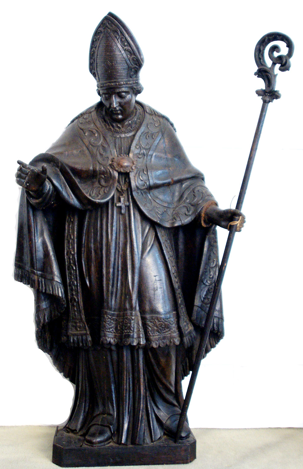 Large wood statue of holy bishop, early eighteenth century ...